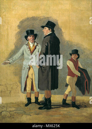 . English: Sir Charles Bunbury (center) with his horse trainer Cox and a stable boy in a circa 1801 study painting by Benjamin Marshall. The work was reportedly a preliminary painting for the later finished work 'Surprise and Eleanor.' Eleanor was Bunbury's Thoroughbred racemare that won the 1801 Epsom Derby and Epsom Oaks, the first time that feat had been accomplished by a mare. circa 1801. Benjamin Marshall (1768-1835) 123 Charles Bunbury and Cox - Stock Photo