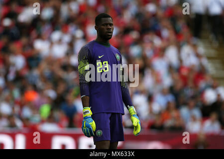 Wembley Stadium, London, UK. 2nd Jun, 2018. Francis Uzoho, the goalkeeper of Nigeria in action. Football International friendly, England v Nigeria at Wembley Stadium in London on Saturday 2nd June 2018.  this image may only be used for Editorial purposes. Editorial use only, license required for commercial use. No use in betting, games or a single club/league/player publications. pic by Andrew Orchard//Andrew Orchard sports photography/Alamy Live news - Stock Photo