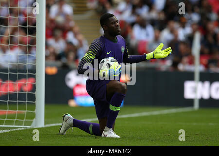 Wembley Stadium, London, UK. 2nd Jun, 2018. Francis Uzoho, the goalkeeper of Nigeria in action.Football International friendly, England v Nigeria at Wembley Stadium in London on Saturday 2nd June 2018.  this image may only be used for Editorial purposes. Editorial use only, license required for commercial use. No use in betting, games or a single club/league/player publications. pic by Andrew Orchard//Andrew Orchard sports photography/Alamy Live news - Stock Photo