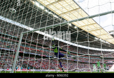 London, UK. 2nd June, 2018. Francis Uzoho of Nigeria saves the ball during the International Friendly Football match between England and Nigeria at Wembley Stadium in London, Britain on June 2, 2018. Nigeria lost 1-2. Credit: Han Yan/Xinhua/Alamy Live News - Stock Photo