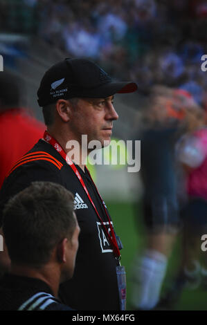 Twickenham Stadium, London, UK. 2nd Jun, 2018. New Zealand coach Clark Laidlaw at Twickenham Stadium, London, UK, during the penultimate stage of the HSBC World Rugby Sevens Series.  The series sees 20 international teams competing in rapid 14 minute matches (two halves of seven minutes) across 11 different cities around the world - the finale will be in Paris in June. Credit: Michael Preston/Alamy Live News - Stock Photo