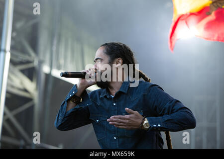 Toronto, Canada, 02nd June, 2018, Damian Marley, youngest son of reggae legend Bob Marley performs at the Fiel trip Music & Arts Festival in Toronto, Canada Credit: topconcertphoto/Alamy Live News - Stock Photo