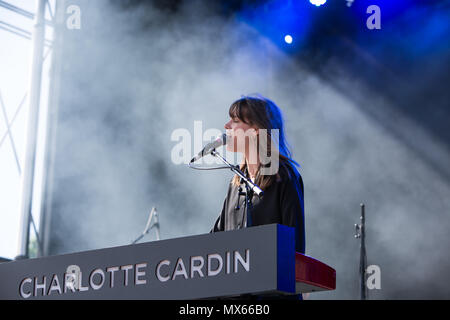 Toronto, Canada. 02nd June 2018. Canadian singer-songwriter Charlotte Cardin performs at the 2018 Field Trip Music & Arts Festival in Toronto, Canada. Credit: topconcertphoto/Alamy Live News - Stock Photo