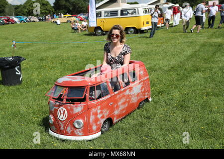Stonor, Oxfordshire, UK. 3rd Jun, 2018. All types of historic Volkswagen cars and vans were displayed at this years's gathering of their owners. Fans could get close to well-loved vehicles from the German car manufacturer, which created its reputation for durability  and Hippie appeal in the 60s. Even children had their own VW buses. Credit: Uwe Deffner/Alamy Live News - Stock Photo