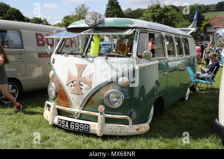 Stonor, Oxfordshire, UK. 3rd Jun, 2018. All types of historic Volkswagen cars and vans were displayed at this years's gathering of their owners. Fans could get close to well-loved vehicles from the German car manufacturer, which created its reputation for durability  and Hippie appeal in the 60s. A vintage VW Bulli. Credit: Uwe Deffner/Alamy Live News - Stock Photo