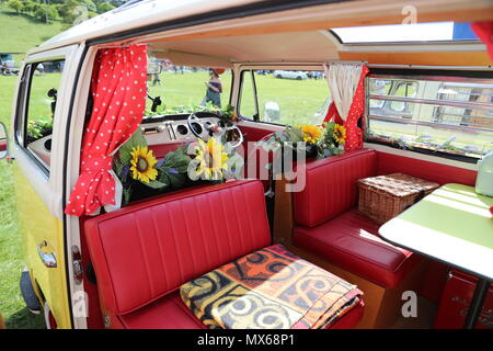 Stonor, Oxfordshire, UK. 3rd Jun, 2018. All types of historic Volkswagen cars and vans were displayed at this years's gathering of their owners. Fans could get close to well-loved vehicles from the German car manufacturer, which created its reputation for durability  and Hippie appeal in the 60s. The interior of this VW is lovingly restored and decorated. Credit: Uwe Deffner/Alamy Live News - Stock Photo