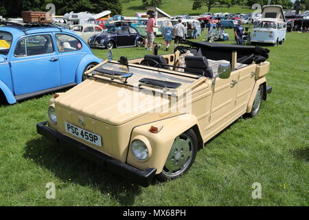 Stonor, Oxfordshire, UK. 3rd Jun, 2018. All types of historic Volkswagen cars and vans were displayed at this years's gathering of their owners. Fans could get close to well-loved vehicles from the German car manufacturer, which created its reputation for durability  and Hippie appeal in the 60s. The VW 182 called 'The Thing'. Credit: Uwe Deffner/Alamy Live News - Stock Photo