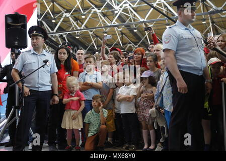 MOSCOW REGION, RUSSIA - JUNE 3, 2018: People attend a ceremony to welcome the 2018 FIFA World Cup trophy at the newly opened Terminal B of Moscow's Sheremetyevo International Airport built for the 2018 FIFA World Cup. Mikhail Japaridze/TASS - Stock Photo