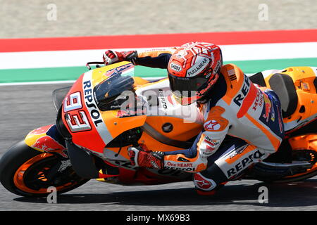 Mugello Circuit, Italy. 2nd Jun, 2018.  Spanish Honda Repsol Team rider Marc Marquez during Qualifying session at 2018 GP of Italy of MotoGP on June, 2018. Italy Credit: dan74/Alamy Live News - Stock Photo