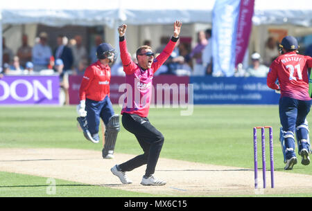Eastbourne UK 3rd June 2018  - Sussex bowler Danny Briggs claims the wicket of Essex's Adam Wheater LBW for 60 runs during the Royal London One Day cricket match between Sussex Sharks and Essex Eagles at The Saffrons ground in Eastbourne UK Photograph taken by Simon Dack Credit: Simon Dack/Alamy Live News - Stock Photo