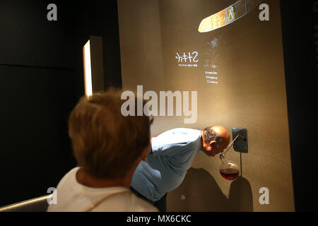 Athens, Greece. 3rd June, 2018. A man smells the 'Rose of Aphrodite', an ancient scent, during the temporary exhibition 'Countless Aspects of Beauty', organised to celebrate the 150th anniversary of the National Archaeological Museum in Athens, Greece, on June 3, 2018. For the first time, an ancient scent takes its place among the treasure of antiquities next to sculptures of Eros and Aphrodite at the National Archaeological Museum in Athens. Credit: Marios Lolos/Xinhua/Alamy Live News - Stock Photo
