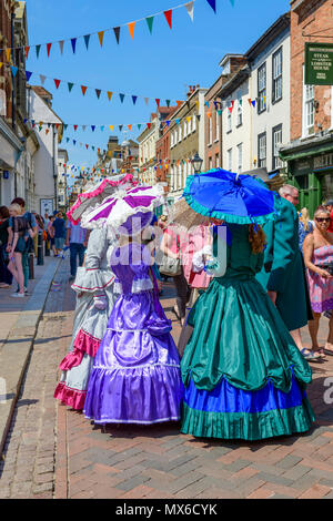 Rochester, Kent, UK. 03rd June, 2018.  Participants in Victorian costume at the anual Rochester Dickens festival Credit: lifes all white/Alamy Live News - Stock Photo