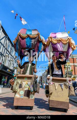 Rochester, Kent, UK. 03rd June, 2018. Participants in Victorian costume and mock hot air balloons at the anual Rochester Dickens festival Credit: lifes all white/Alamy Live News - Stock Photo