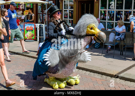 Rochester, Kent, UK. 03rd June, 2018. Participant in Victorian costume rides a dodo at the anual Rochester Dickens festival Credit: lifes all white/Alamy Live News - Stock Photo