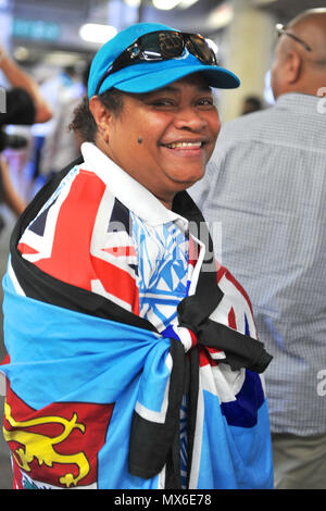 London, UK. 3rd Jun, 2018. A Fijian fan at the penultimate stage of the HSBC World Rugby Sevens Series at Twickenham Stadium, London, UK.  The series sees 20 international teams competing in rapid 14 minute matches (two halves of seven minutes) across 11 different cities around the world - the finale will be in Paris in June. Credit: Michael Preston/Alamy Live News - Stock Photo