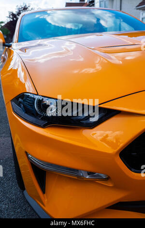 London, England. 3rd June 2018. Motoring news. The only orange Ford Mustang in the country owned by Eugene Ring is on the streets of Harrow today. © Tim Ring/Alamy Live News - Stock Photo