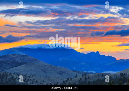 sunrise over the sleeping giant mountain near helena montana - Stock Photo