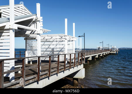 Panoramic view of the Woody Point Jetty, a 240 meters long pier in the Redcliffe Peninsula, Queensland, Australia - Stock Photo