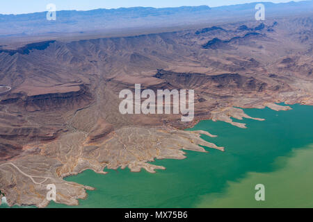 Lake Mead Aerial View, America, Arizona and Nevada seen from helicopter - Stock Photo