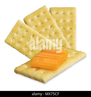 Cheddar cheese on a cracker - Stock Photo