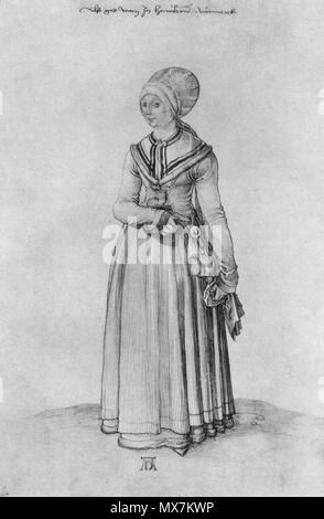 175 Dürer - Une fille de Nuremberg en vêtement d'intérieur - Stock Photo