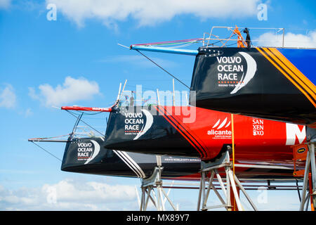 Cardiff, United Kingdom -  June 01, 2018: Closeup of the bow of three Volvo Ocean Race boats under repair in Cardiff - Stock Photo