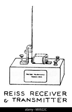 Early telephone equipment - A 1930's illustration of Reiss receiver and transmitter - Stock Photo