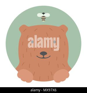 Animal set. Portrait in flat graphics - Bear - Stock Photo