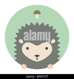 Animal set. Portrait in flat graphics - Hedgehog - Stock Photo