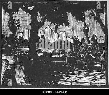 1930 wood-cut (wood block or lino-cut) hand engraved picture of city dwellers eating their packed lunch on a  UK park bench - Stock Photo