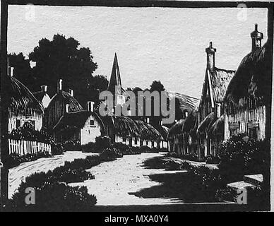 1930 wood-cut (wood block or lino-cut) hand engraved picture of an English country village with thatched cottages - Stock Photo