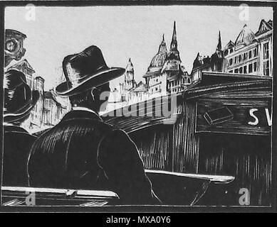 1930 wood-cut (wood block or lino-cut) hand engraved picture of a man and woman in 1930's hat  and coat riding on the top deck of an open topped double decker bus - Stock Photo