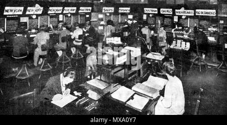 Early telephone message transmission  equipment being used at the British GPO (Post Office) international telephone exchange . - Stock Photo