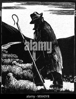 1930 wood-cut (wood block or lino-cut ) hand engraved picture of an English shepherd and his flock of sheep - Stock Photo