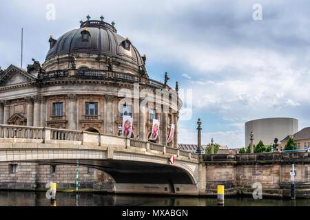 Bode Museum On Museum Island, Monbijou bridge. Historic listed building next to Spree River, Mitte, Berlin - Stock Photo