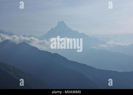 Machapuchare. View from Muldai viewpoint, Nepal. - Stock Photo