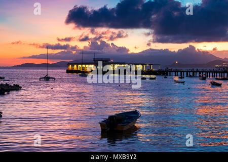 Yung Shue Wan harbour at sunset, Lamma Island, Hong Kong, SAR, China - Stock Photo