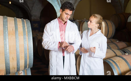 Two professional wine house workers checking quality of product in cellar - Stock Photo