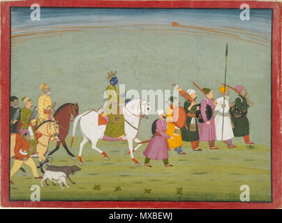 . English: Krishna rides to Kundulpur. Illustration from a Bhagavata Purana series. ca. 1760 - 1765 Artist: Unknown The Vera M. and John D. MacDonald, B.A. 1927, Collection, Gift of Mrs. John D. MacDonald 2001.138.31 The Bhagavata Purana, 'The Ancient Story of God,' a chronicle of Vishnu, was a major subject of Indian miniature painting. Books 10 and 11, which describe the career on earth of Vishnu's eighth incarnation, Krishna, were frequently illustrated. This large illustration comes from such a series created in the Punjab Hills state of Basohli during the third quarter of the eighteenth c - Stock Photo