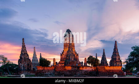 Wat Chaiwatthanaram, a Buddhist temple in the city of Ayutthaya Historical Park, Thailand, on the west bank of the Chao Phraya River, outside Ayutthay - Stock Photo