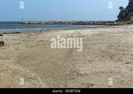 Amazing Panorama of Golden beach, Thassos island, East Macedonia and Thrace, Greece - Stock Photo