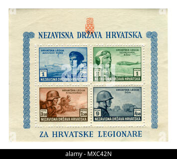 Croatian historical stamps:  release in support of the Croatian legions 1943, Pro-German troops. Aviation, Navy, Infantry, SS divisions. Croatia, ww2 - Stock Photo