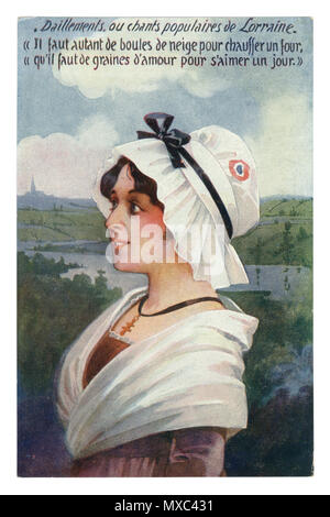 French historical postcard: Young beautiful girl in a traditional dress, in a white cap with a tricolor. With a cross around her neck. Alsace-Lorraine - Stock Photo