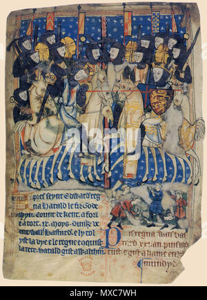 . Duke William of Normandy, the Conqueror, stabs King Harold of England at the Battle of Hastings as they fight on horseback. England chronicle in French of circa 1280-1300 at British Library. 13th century. Unknown 392 Manuscript of XIII BC Battle of Hastings - Stock Photo