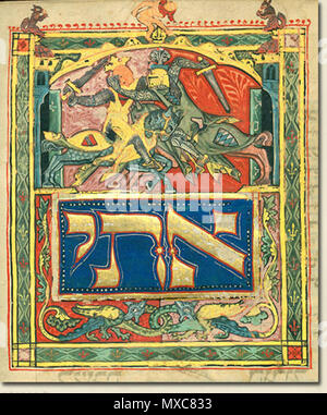 . English: Illustration from the Tripartite Mahzor (MS A 384). circa 1320. Unknown 294 Illustration-tripartite-mahzor-knights - Stock Photo