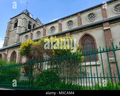 Saint Peter's Church with its 13th century belltower, Le Crotoy, France - Stock Photo