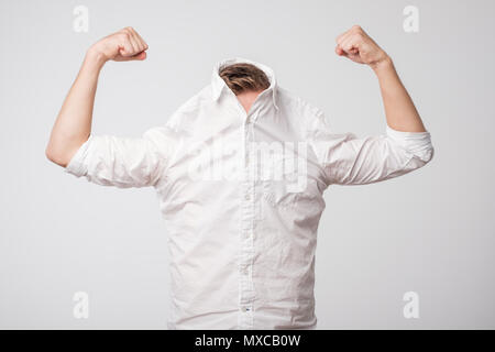Portrait of a modern handsome man showing his power. - Stock Photo