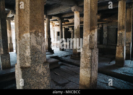 Underground Siva Temple, Ancient ruins in Hampi, India - Stock Photo