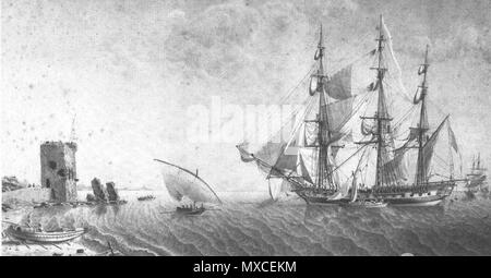 . The French 24-pounder frigate Égyptienne. . Attributed to Jean-Jacques Baugean 366 Legyptienne - Stock Photo