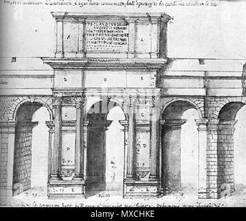 . Français: Reconstitution de l'arc de Claude de 52. Dessin de Pirro Ligorio (mort en 1583). 29 May 2008, 08:09:09. Pirro Ligorio (d.1583) 133 Claudiusarch2 - Stock Photo